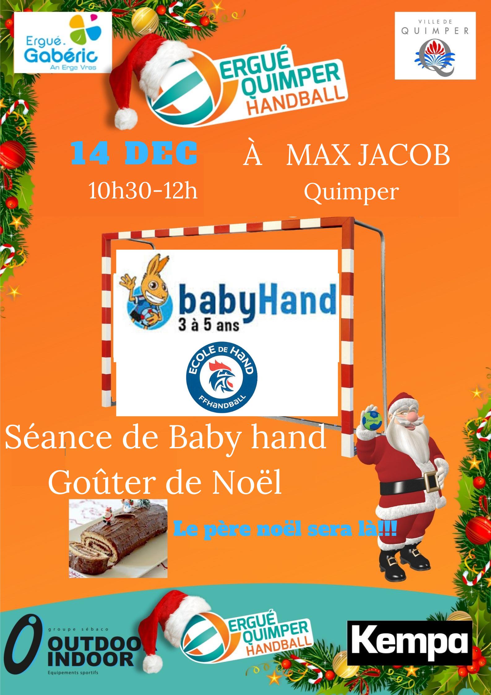 EQHB fête noël avec les baby hand et école de hand avec des jeux et un goûter avec le père noël
